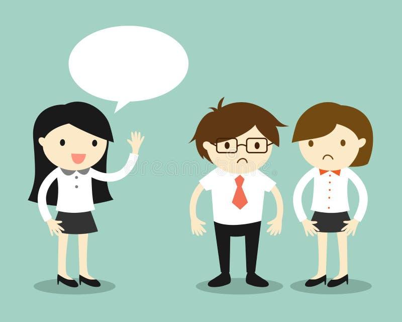 Concepto del negocio, mujeres de negocios que hablan pero sus compañeros de trabajo que sienten torpes stock de ilustración