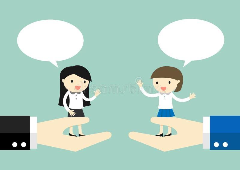Concepto del negocio, mujeres de negocios que se colocan en la mano grande y que hablan el uno al otro ilustración del vector