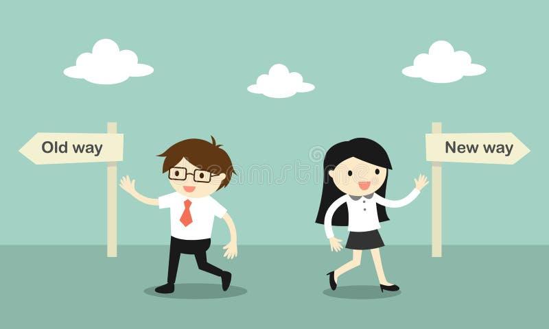 Concepto del negocio, paseo del hombre de negocios a la vieja manera, pero paseo de la mujer de negocios a la nueva manera libre illustration