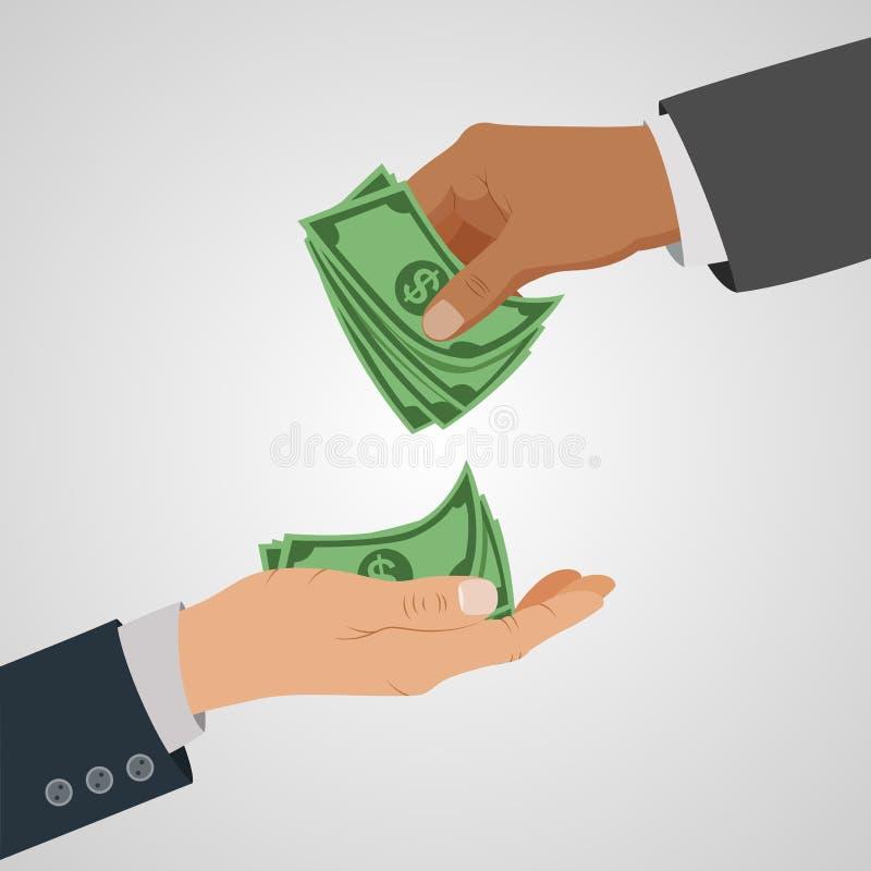 Concepto del negocio que da el dinero stock de ilustración
