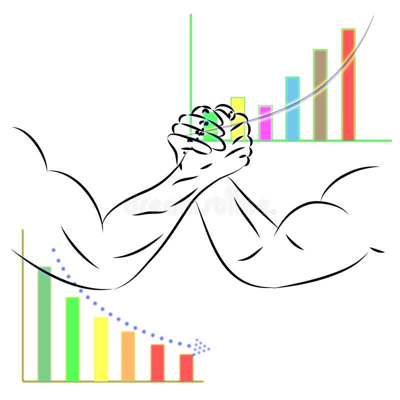 Concepto del negocio que lucha entre la acción hacia arriba y hacia abajo stock de ilustración