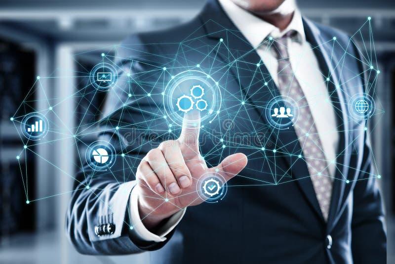 Concepto del negocio del sistema del proceso de la tecnología de programación de la automatización fotos de archivo libres de regalías