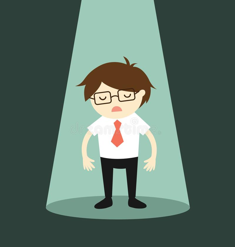 Concepto del negocio, situación del hombre de negocios sola en proyector libre illustration