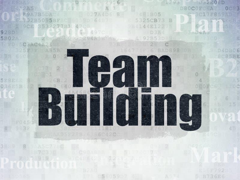 Concepto del negocio: Team Building en fondo del papel de datos de Digitaces fotografía de archivo libre de regalías