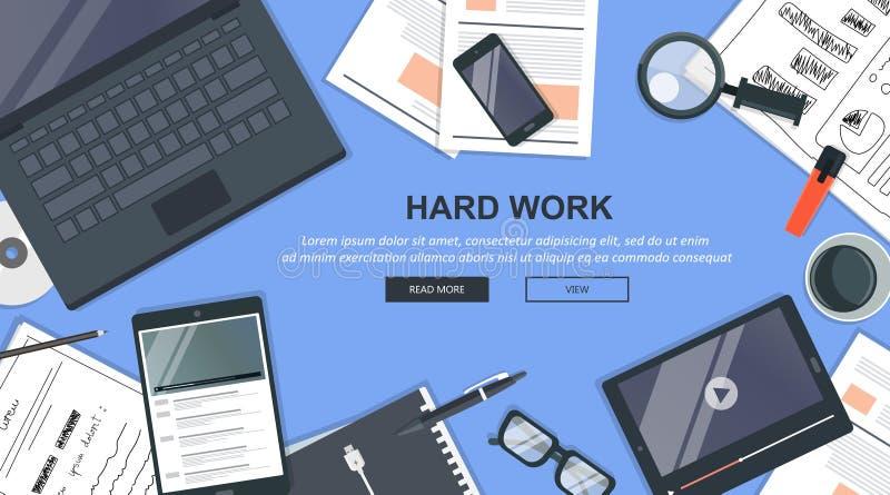 Concepto del negocio del trabajo duro Escritorio de oficina con el equipo Ambiente del espacio de trabajo y de la oficina plano ilustración del vector