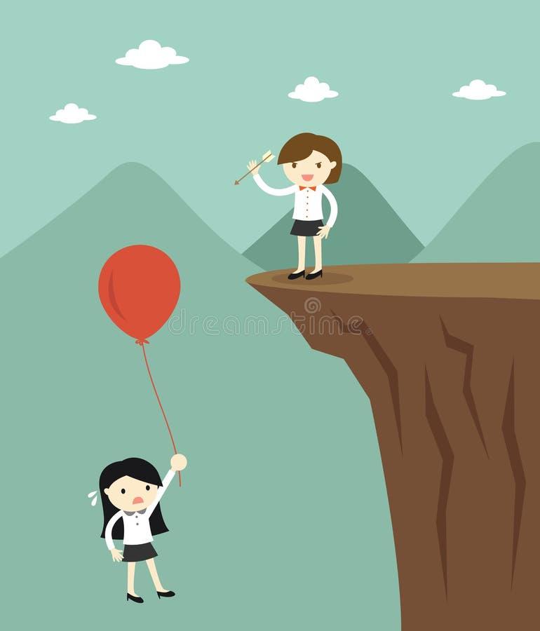 Concepto del negocio, uso de la mujer de negocios la flecha de hacer estallar otro globo del ` s de la mujer de negocios stock de ilustración