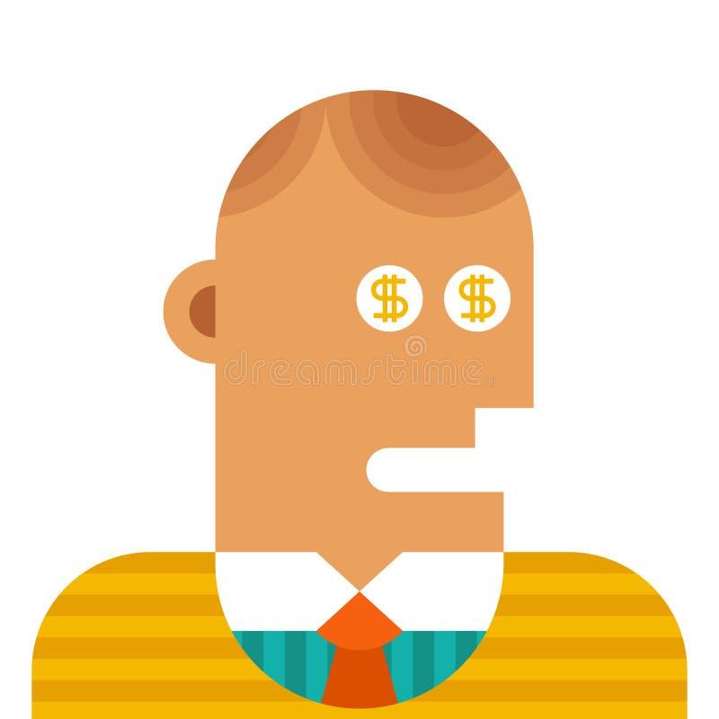 Concepto del negocio del vector - dólares en ojos ilustración del vector