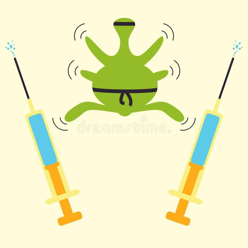 Concepto del ninja de la resistencia de los antibióticos ilustración del vector