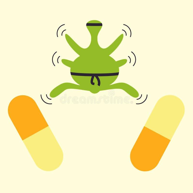 Concepto del ninja de la resistencia de los antibióticos stock de ilustración