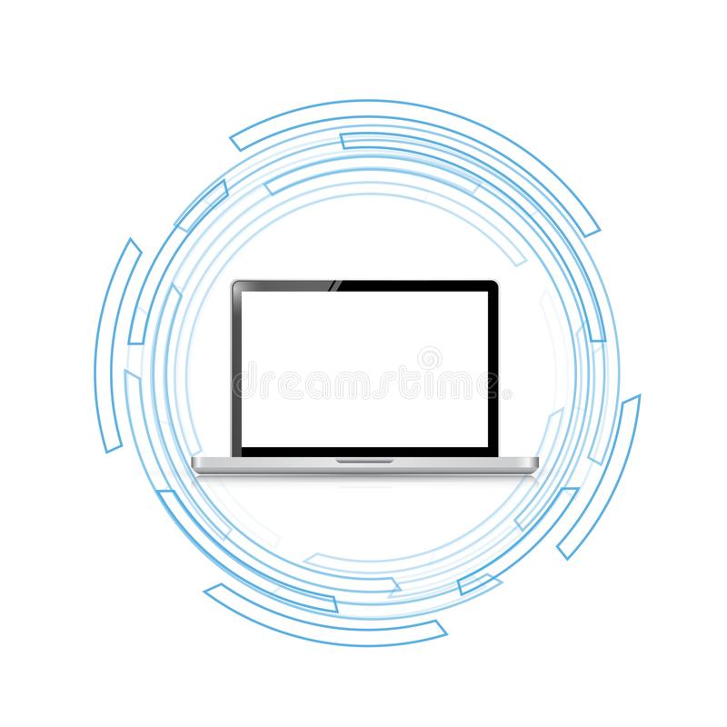 concepto del ordenador portátil de la tecnología del negocio ilustración del vector
