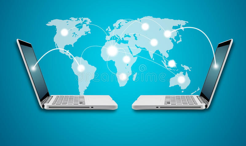 Concepto del ordenador portátil y del establecimiento de una red del ordenador de la tecnología con el mapa stock de ilustración