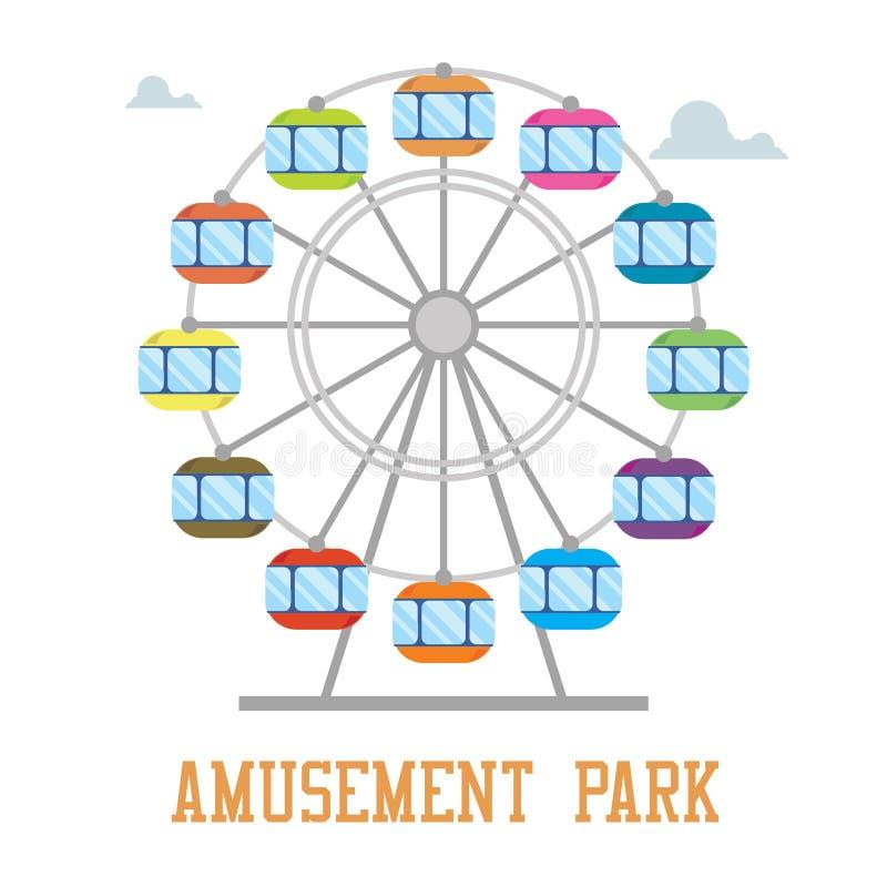 Concepto del parque de Amuzement Rueda de Ferris aislada stock de ilustración