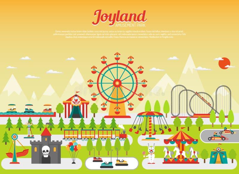 Concepto del parque de atracciones stock de ilustración