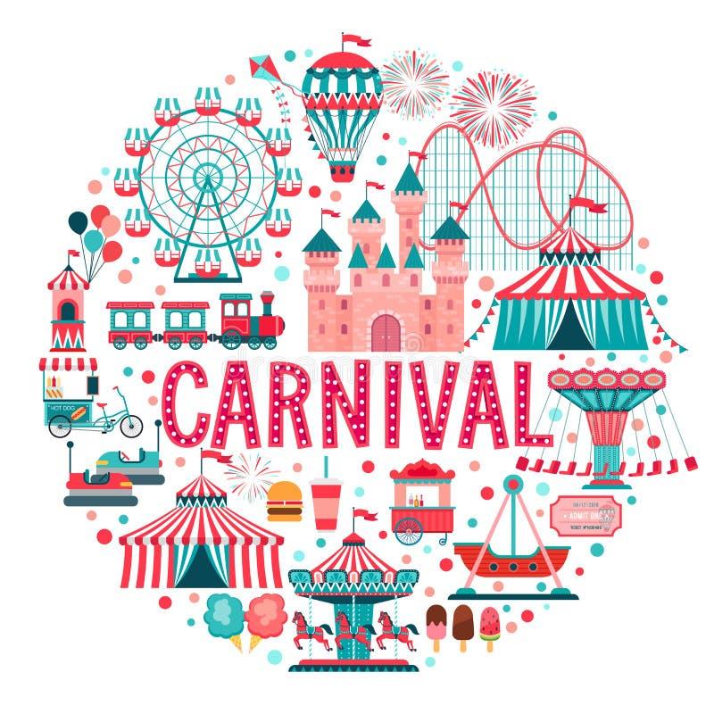 Concepto del parque de atracciones, circo, carnaval ilustración del vector