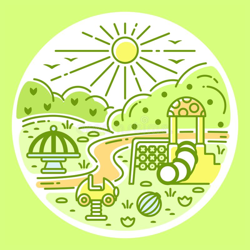 Concepto del parque público con los elementos del patio y de la naturaleza ilustración del vector