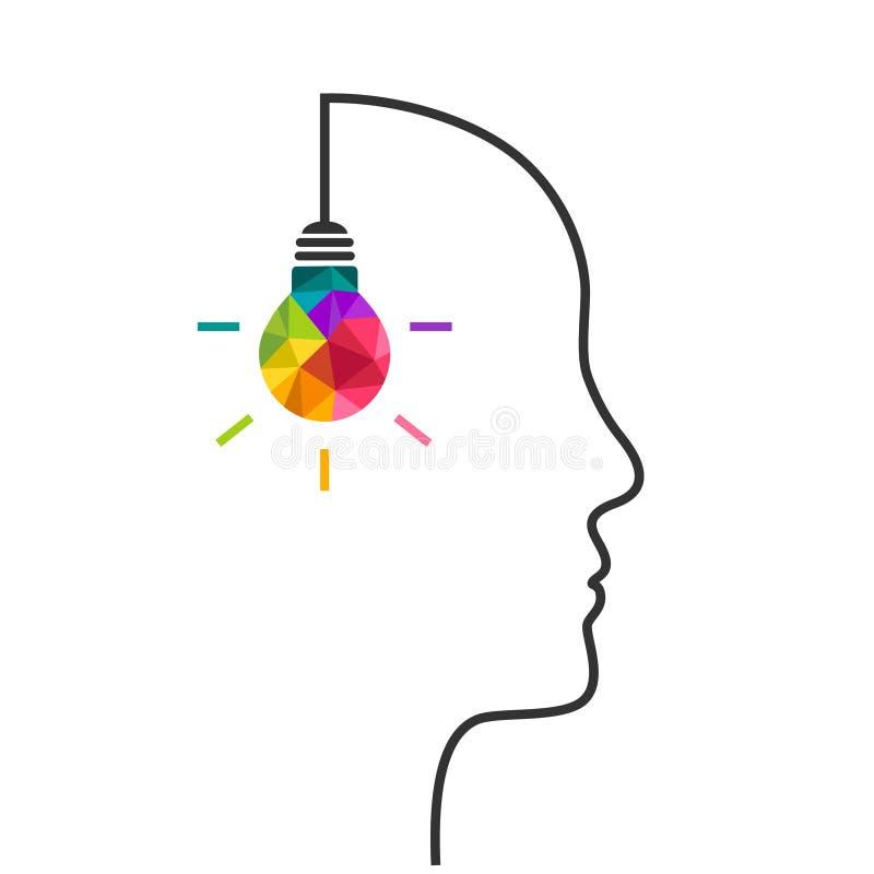 Concepto del pensamiento creativo con la bombilla y la cabeza ilustración del vector