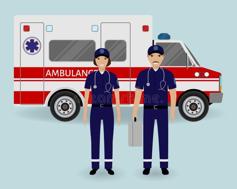 Concepto del personal hospitalario Equipo de la ambulancia de los paramédicos con el coche de la ambulancia Empleado médico del s stock de ilustración