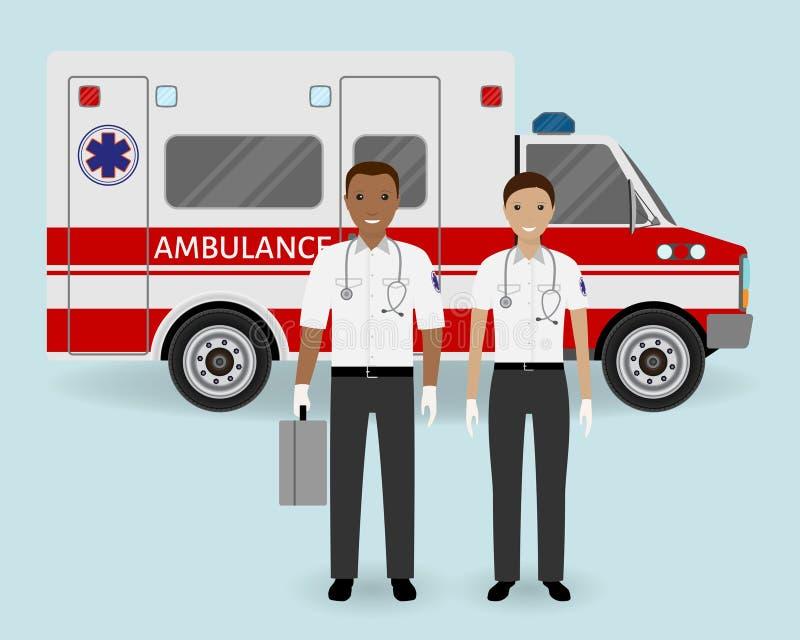 Concepto del personal hospitalario Equipo de la ambulancia de los paramédicos en fondo del coche de la ambulancia Empleado médico stock de ilustración