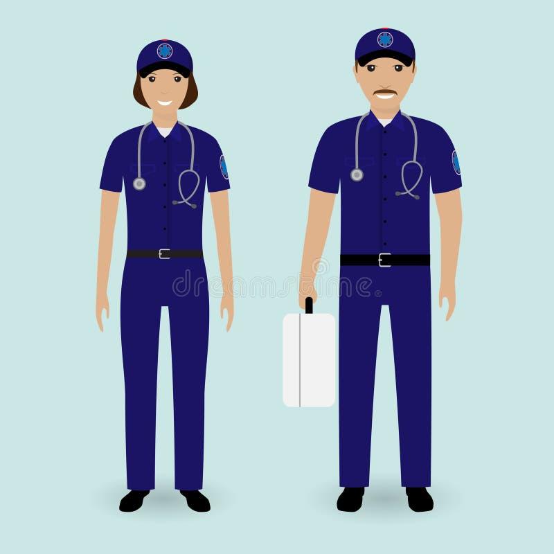 Concepto del personal hospitalario Equipo de la ambulancia de los paramédicos Varón y hembra ilustración del vector