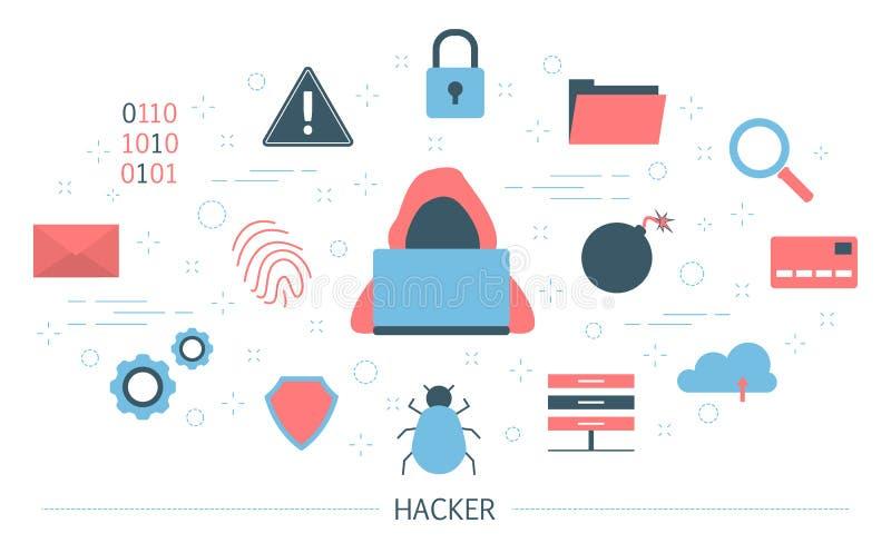 Concepto del pirata informático Ataque del virus en smartphone o el ordenador ilustración del vector
