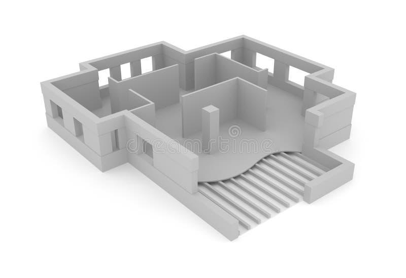 Concepto del plan arquitectónico en 3D stock de ilustración