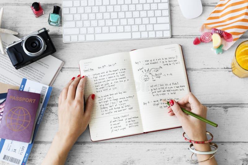 Concepto del plan del diario de la nota de la escritura de la mano fotos de archivo libres de regalías