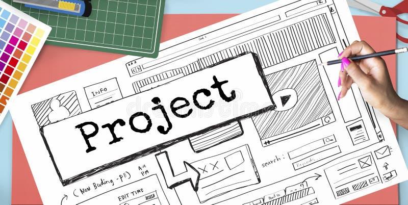 Concepto del plan del esquema del sitio web de la idea del proyecto imagenes de archivo