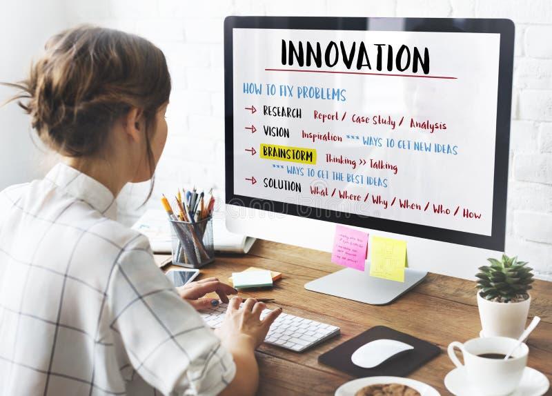 Concepto del plan del intercambio de ideas de la creatividad de la innovación foto de archivo