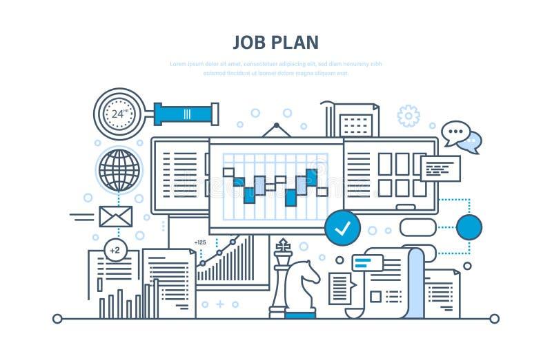 Concepto del plan del trabajo Gestión de tiempo, planeamiento, márketing, organización Estrategia empresarial stock de ilustración