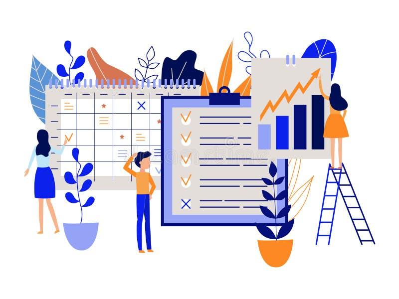 Concepto del planeamiento del flujo de trabajo con tareas de la gente y metas de registración y de marcado en horario grande y ca libre illustration