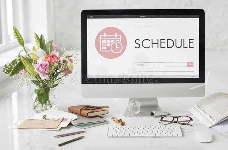 Concepto del planificador del orden del día de la reunión de la cita del horario imagen de archivo libre de regalías