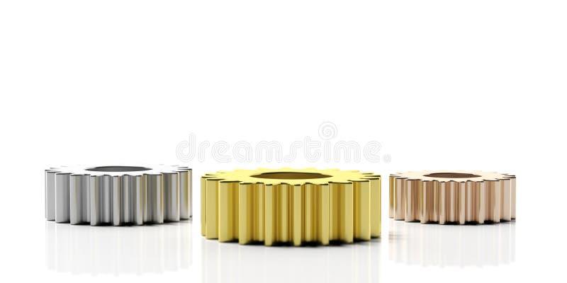 Concepto del podio del ` s del ganador Tres ruedas dentadas del metal aisladas en el fondo blanco ilustración 3D ilustración del vector