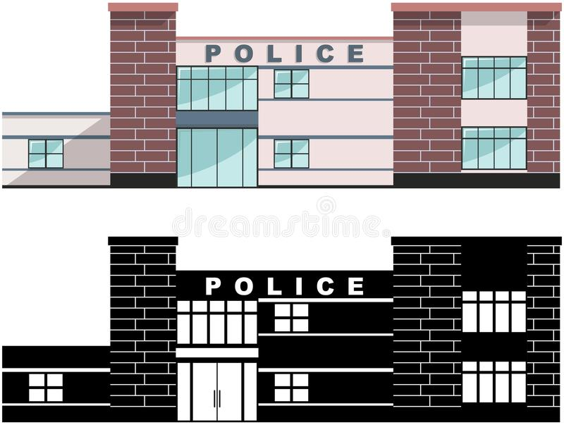 Concepto del policía Edificio del Departamento de Policía del diferente tipo aislado en el fondo blanco en estilo plano: coloread libre illustration