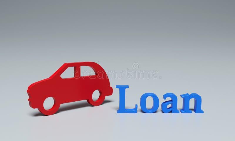 Concepto del préstamo de coche - imágenes de la representación 3D ilustración del vector