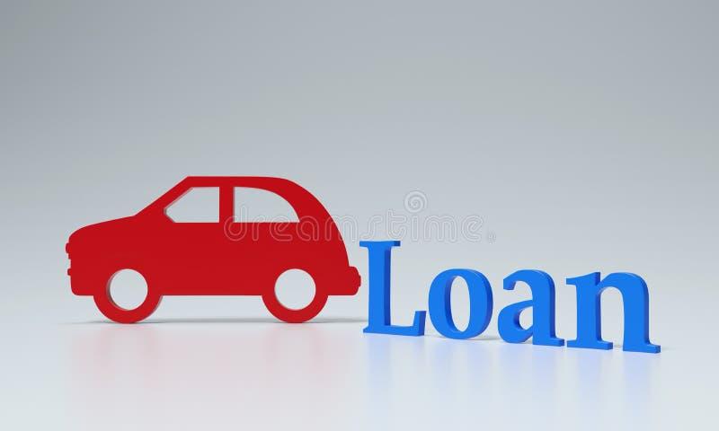 Concepto del préstamo de coche - imágenes de la representación 3D stock de ilustración