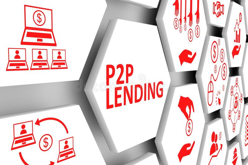 Concepto del PRÉSTAMOS del P2P ilustración del vector