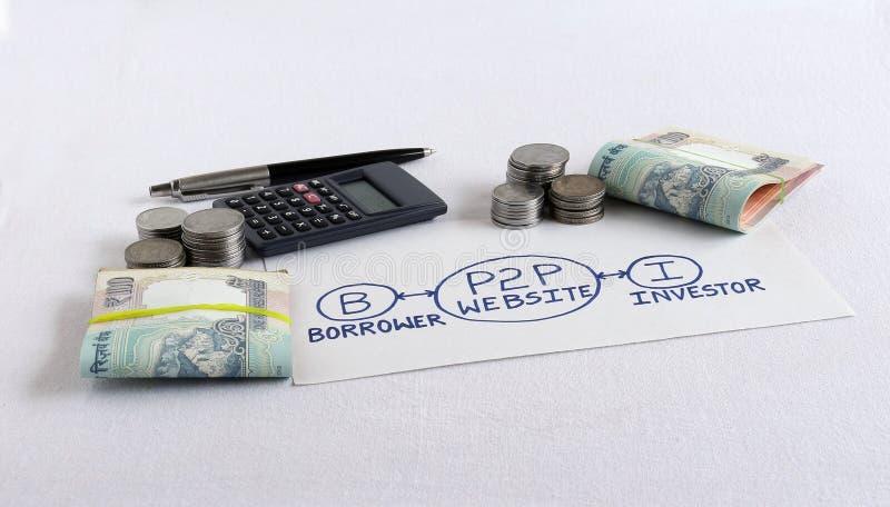 Concepto del préstamos del P2P destacado a través de un diagrama dibujado mano y de rupias foto de archivo