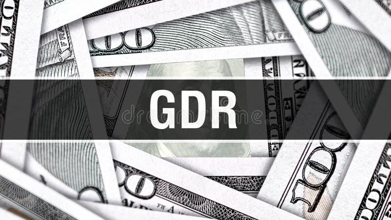 Concepto del primer de RDA Dólares americanos de dinero del efectivo, representación 3D RDA en el billete de banco del dólar Anun libre illustration