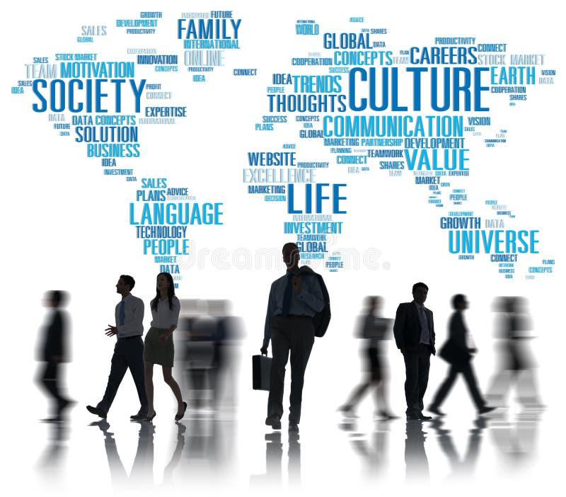 Concepto del principio de la sociedad de la ideología de la comunidad de la cultura stock de ilustración