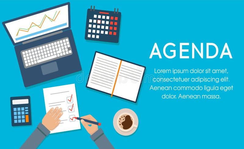 Concepto del programa Empresario en la agenda de escritura de escritorio Plantilla, banner para web e impresión Ilustración del v stock de ilustración