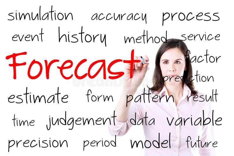 Concepto del pronóstico de la escritura de la mujer de negocios Aislado en blanco imagenes de archivo