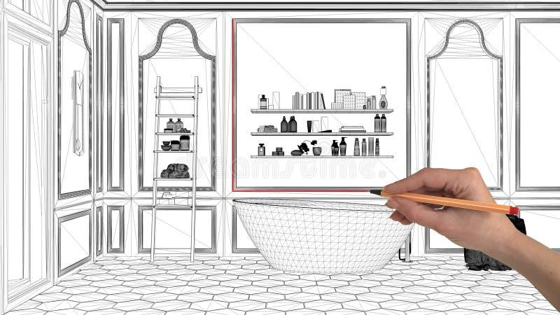 Concepto del proyecto de diseño interior, arquitectura de encargo del dibujo de la mano, bosquejo blanco y negro de la tinta, mod foto de archivo libre de regalías