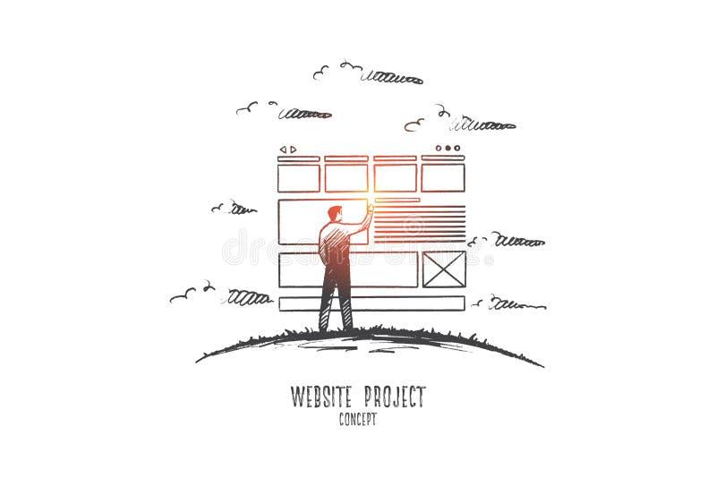 Concepto del proyecto de sitio web Vector aislado dibujado mano ilustración del vector