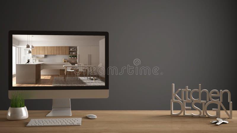 Concepto del proyecto del diseñador del arquitecto, tabla de madera con las llaves de la casa, letras 3D que hacen que la cocina  ilustración del vector