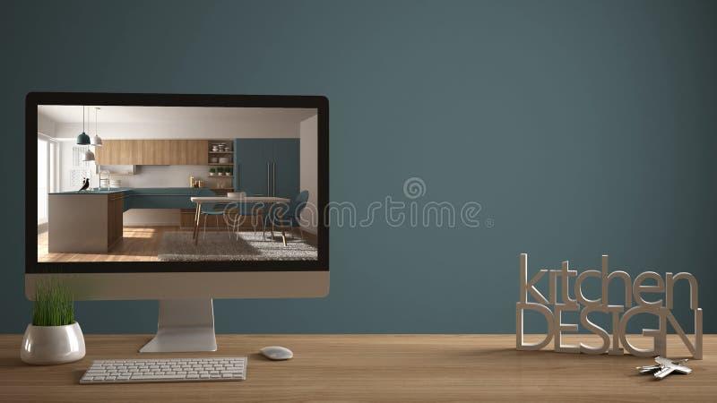 Concepto del proyecto del diseñador del arquitecto, tabla de madera con las llaves de la casa, letras 3D que hacen que la cocina  stock de ilustración