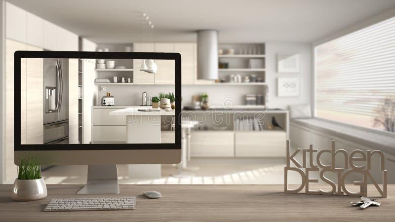 Concepto del proyecto del diseñador del arquitecto, tabla de madera con las llaves de la casa, letras 3D que hacen que la cocina  fotos de archivo libres de regalías