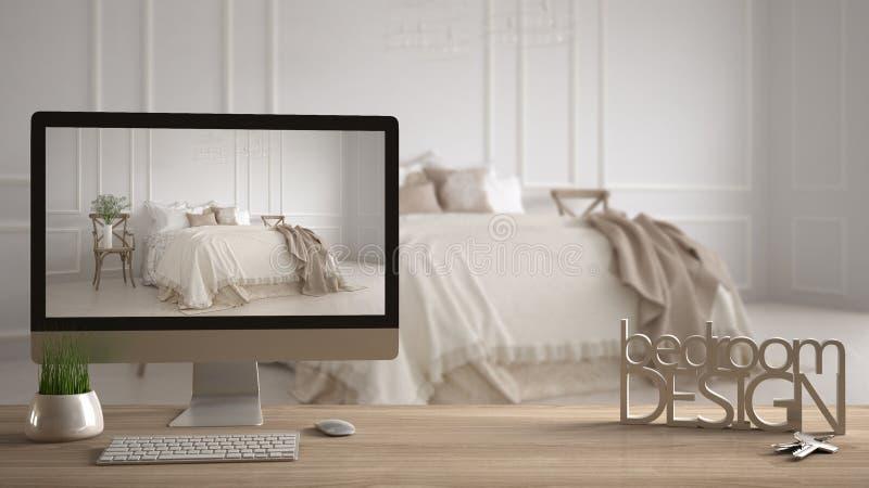 Concepto del proyecto del diseñador del arquitecto, tabla de madera con las llaves, letras 3D que hacen que el dormitorio de las  libre illustration
