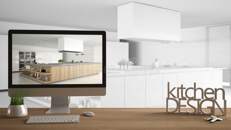 Concepto del proyecto del diseñador del arquitecto, tabla de madera con llaves de la casa, letras 3D y cocina profesional de la d stock de ilustración