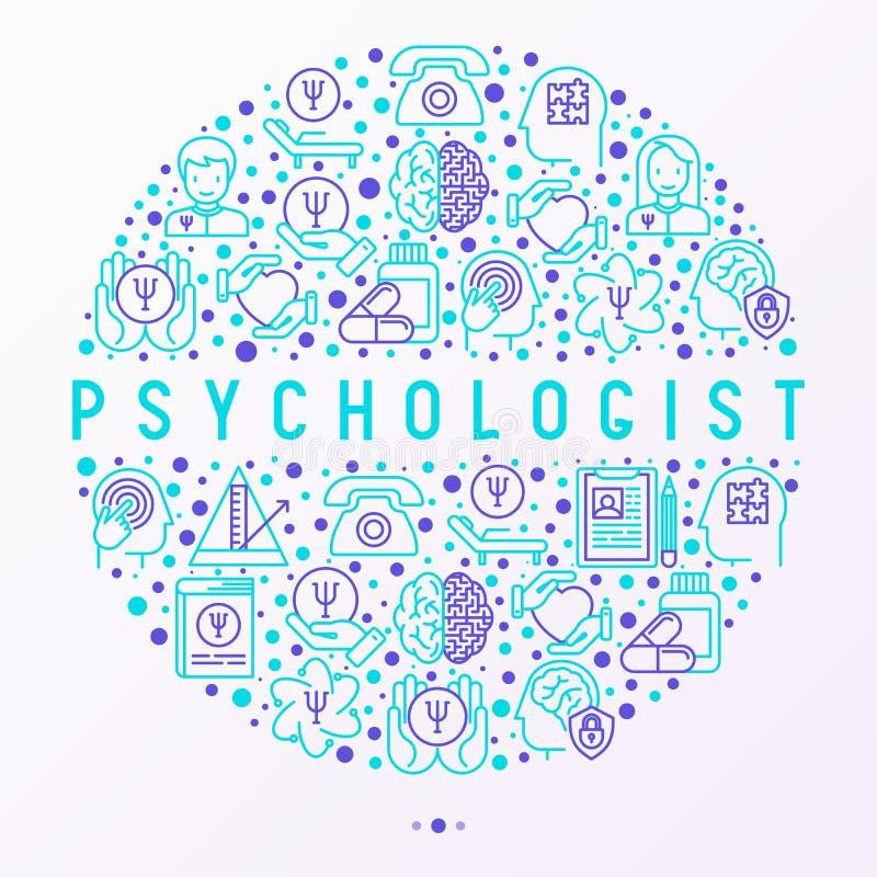 Concepto del psicólogo en el círculo, línea fina iconos stock de ilustración