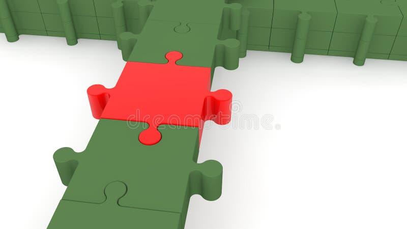 Concepto del puente de la conexión de rompecabezas en colores rojos y verdes ilustración del vector